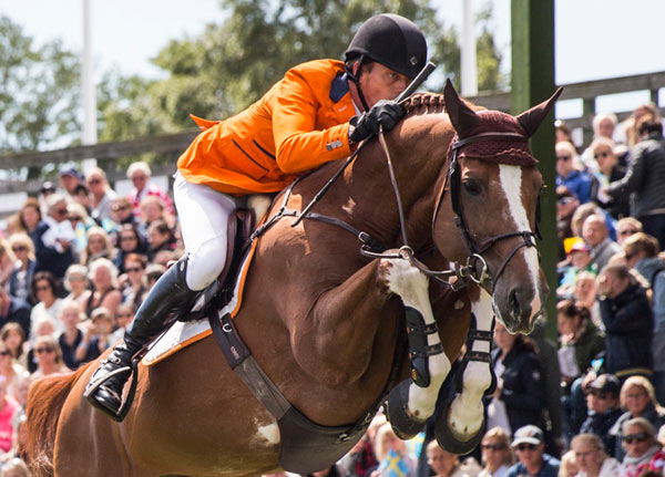 Harrie Smolders and Emerald were pathfinders for the Dutch team that won the Furusiyya FEI Nations Cup Jumping contest at Falsterbo, Sweden.