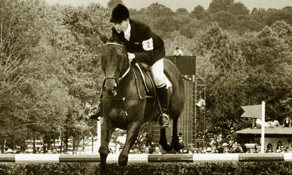 Jane Holderness-Roddam in her eventing heyday in the 1960s.