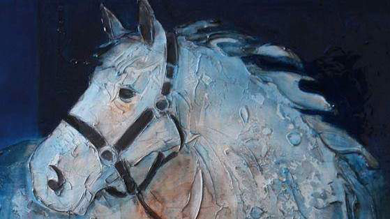 Sylvain Tremblay's Blue Horse has been bought at a charity auction by Sarah Ferguson, the Duchess of York.
