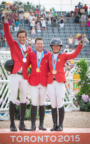 On the podium for the individual Jumping medal presentation at the Pan-American Games 2015 in Caledon Park, Toronto, Canada this evening: (L to R) silver medallist Andres Rodriguez (VEN), gold medallist McLain Ward (USA) and bronze medallist Lauren Hough (USA).