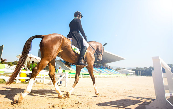 Under the sun: Rio 2016 Olympic Games Test Event - the Aquece Rio International Horse Trials - off to a great start with the Dressage phase of Eventing at the Olympic Equestrian Centre in Deodoro. © Raphael Macek