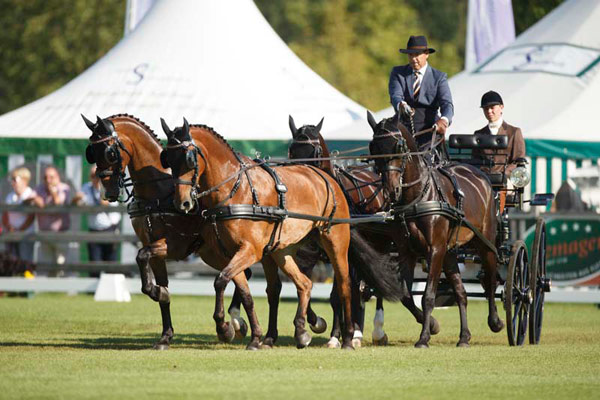 IJsbrand Chardon has won the dressage phase of the FEI European Driving Championships for Four-in-Hand 2015 in Aachen. All eyes are now on thesecond phase, the cones, before the European individual and team champions are crowned after the marathon stage on Saturday, August 22.