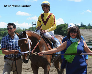 Rachel's Valentina after her first-up win at Saratoga on Sunday.