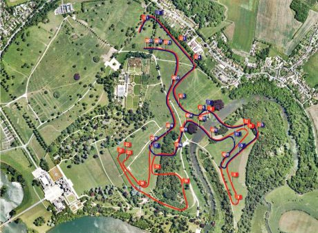 Map shows the CCI3* course in red, and the CCI3* in blue.