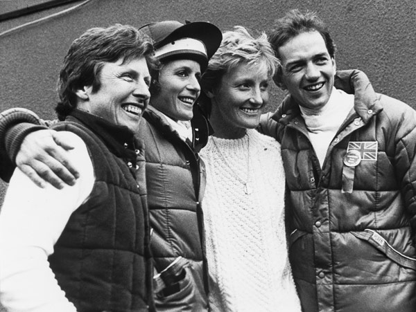 The winning British team in 1985 at Burghley, from left, Lorna Clarke, Virginia Holgate, Lucinda Green and Ian Stark.