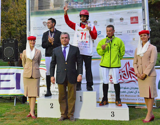 On the podium for the FEI World Endurance Championships for Young Horses, gold medalist Saif Ahmed Al Mozroui (centre) with Spain's silver medalist Alex Luque Moral (left) and bronze medalist Jordi Pons Serra, with Manuel Bandeira De Mello, FEI Director, Endurance, at front.