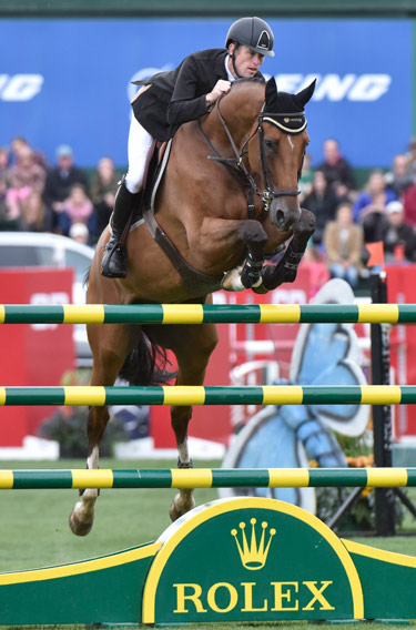 Scott Brash and Hello Sanctos on their way to winning the CP International at Spruce Meadows, and taking out the Rolex Grand Slam.