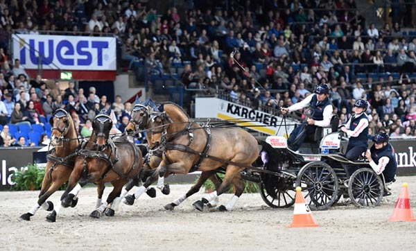 Australia's Boyd Exell picked up where he left off last season when the defending FEI World Cup Driving champion cruised to victory with his Four-in-Hand team at the first leg of this season's series in Stuttgart.