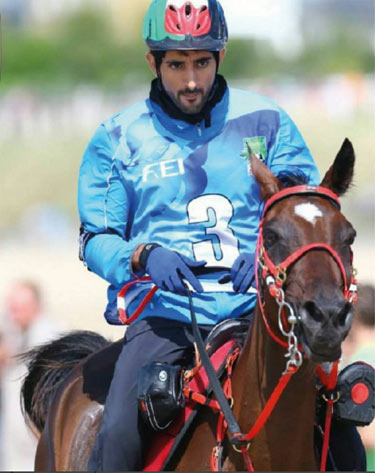 The Al Yamamah saddle donated by Shaikh Hamdan Bin Mohammad Bin Rashid Al Maktoum, on which he rode to victory at the 2014 Alltech FEI World Equestrian Games, sold for Dh2.40 million.