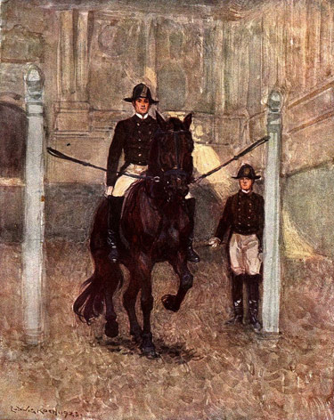 Piaffe in the pillars at the Spanish Riding School, by Ludwig Koch