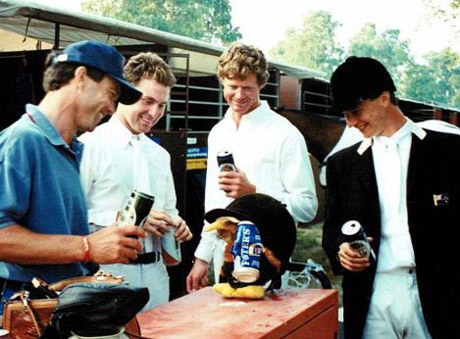 The 1995 New Zealand Show Jumping team that qualified NZ for 1996 Olympic Games at the CSIO5* show in Falsterbo, Sweden. From left, Peter Breakwell, Sharn Wordley, Bruce Goodin, and Daniel Meech.