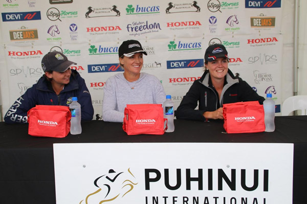 The top three riders in the CCI3* at Puhinui, from left, (L-R) Samantha Felton, Dannie Lodder, and Virginia Thompson.