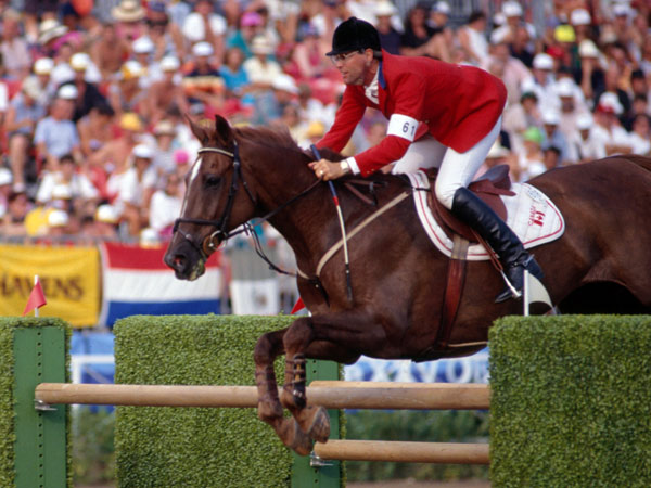 Ian Millar at the Barcelona 1992 Games on Big Ben, whom he also rode at the 1988 and 1984 Olympics.