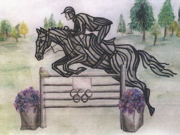 An artist's impression of the sculpture honouring Scott Brash, which will be made from recycled horse shoes.