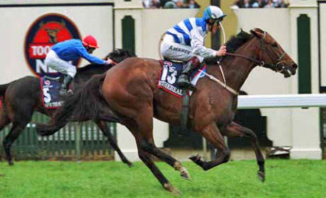 Ethereal completes the 2001 Caulfield/ Melbourne Cups double with success at Flemington.