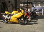 A row of superbikes outside of the Old Town Hall