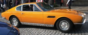 The Persuader's Aston Martin driving away
