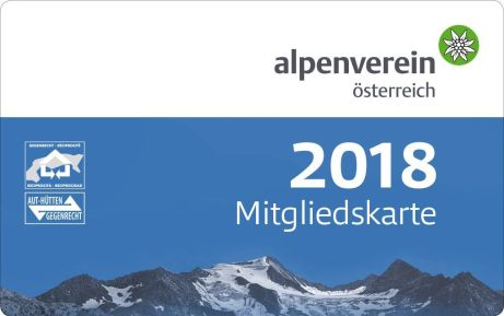 členský průkaz Alpenverein 2018