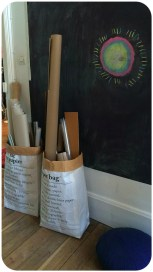 the paper bag, rangement des rouleaux de papier etc...