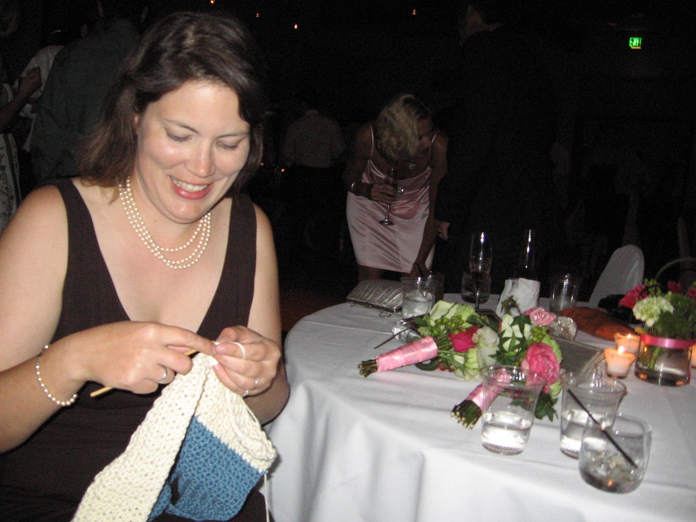 Drunken wedding crocheting is always fun!