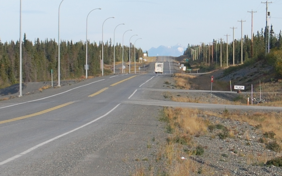 The Alaska Highway looking back towards where we traveled today.