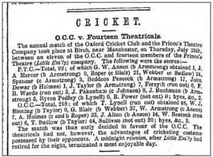 The Oxford Cricket Club vs The Fourteen Theatricals