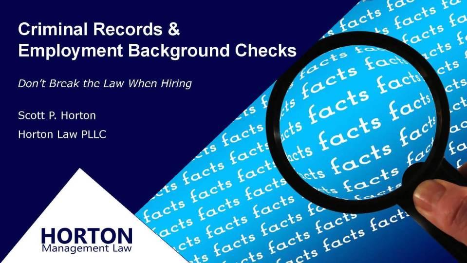 Criminal Records Background Check Webinar