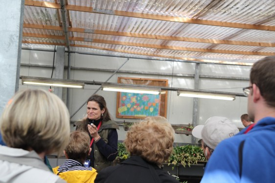 Here Annemieke tells a group about the Picking Garden.
