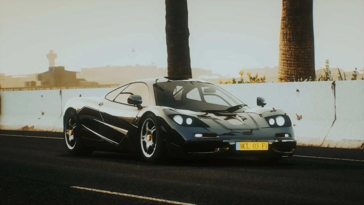 a shiny supercar on the road