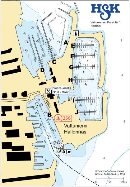 HSK-satamakartta syvyysmerkinnöin