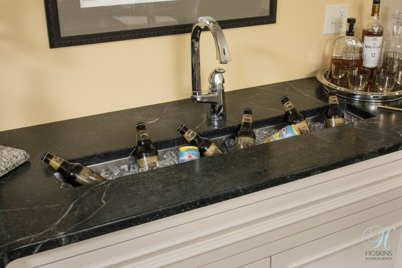 Beau One Unique Feature We Added To The Wet Bar Was A Deep And Narrow Trough Sink  That Could Double As A Cold Beverage Serving Area.
