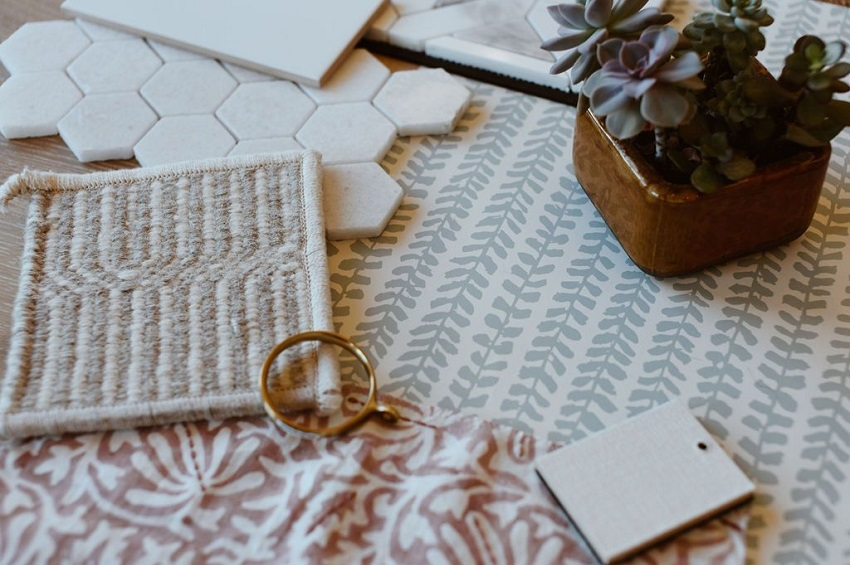 Hoskins-Interior-Design_Indianapolis-IN_3-Reasons-a-Designer-Will-Make-Your-New-Build-a-Success_Design-Process_Flat-Lay-with-Succulant_Design-Samples