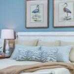 decorative pillows and bird artwork | bedroom design