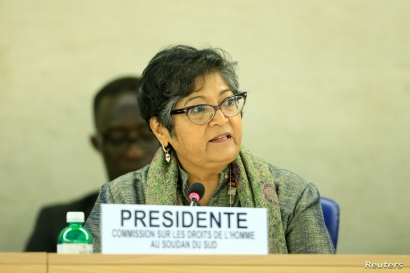 FILE - Yasmin Sooka, chairwoman of the U.N. Commission on Human Rights in South Sudan, addresses the U.N. Human Rights Council in Geneva, Dec. 14, 2016. She was back before the council March 14, 2017, saying the failure to prosecute atrocities in Sou...