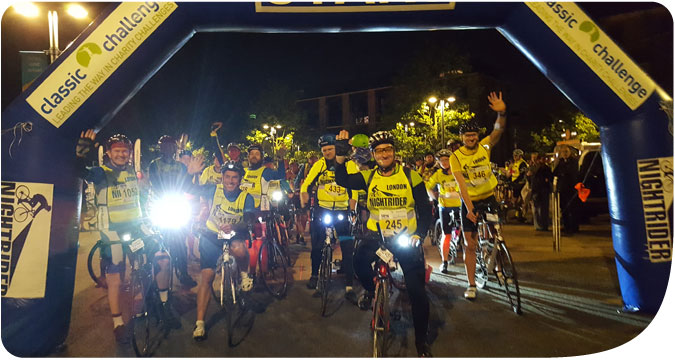 Participants in last years Nightrider gather at the start for a photo call.