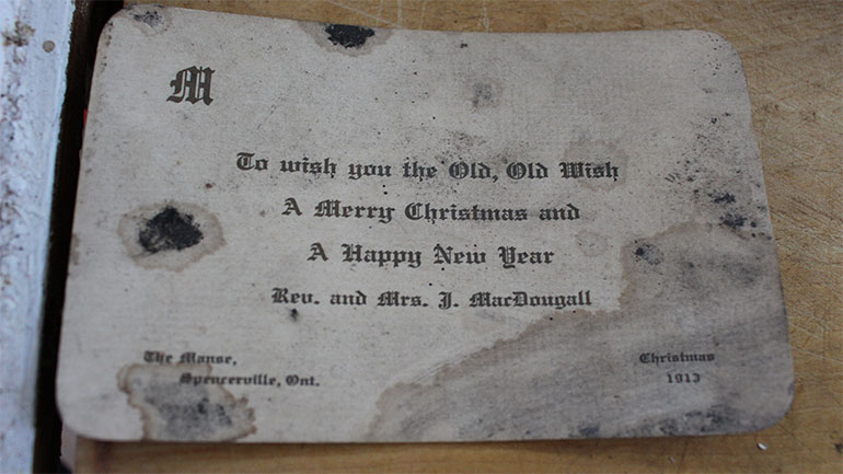 """To wish you the Old, Old Wish a Merry Christmas and a Happy New Year. Rev. and Mrs. J. MacDougall. The Manse, Spencerville, Ont. Christmas 1913"""