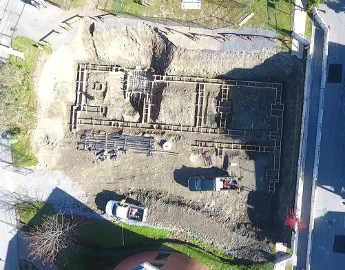 An aerial view of the foundation preparation for the hospice residence