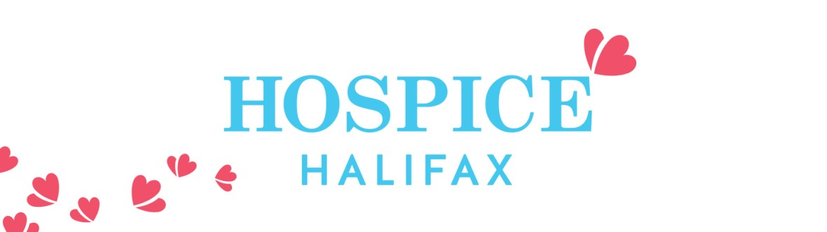 Hospice Halifax Logo in blue with red Hospice Halifax logo hearts trailing along the image.