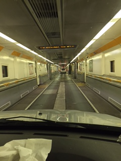 Driving into the Eurotunnel train.