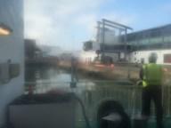 Arriving at Dublin port.
