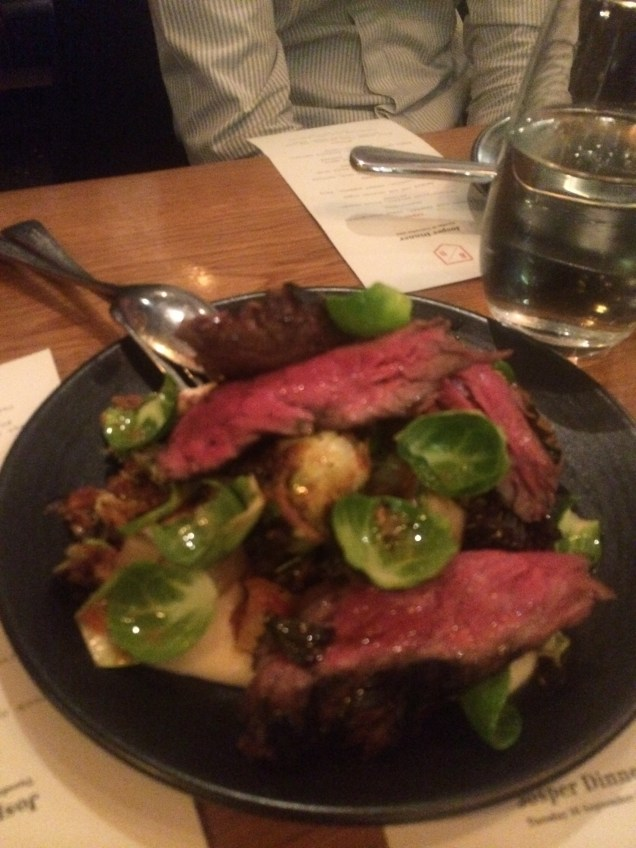 Wagyu skirt with artichoke, brussel sprouts, fermented turnip