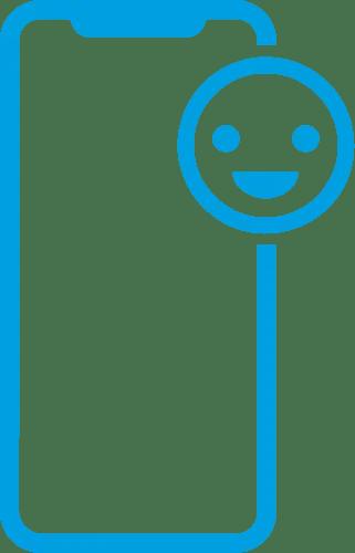 Icone de um iphone com uma carinha ou rosto feliz