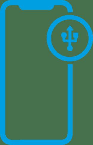 Icone de um iphone com um tridente