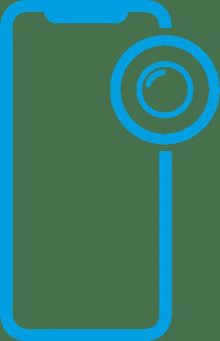 Icone de um iphone com uma lente de camera ao lado