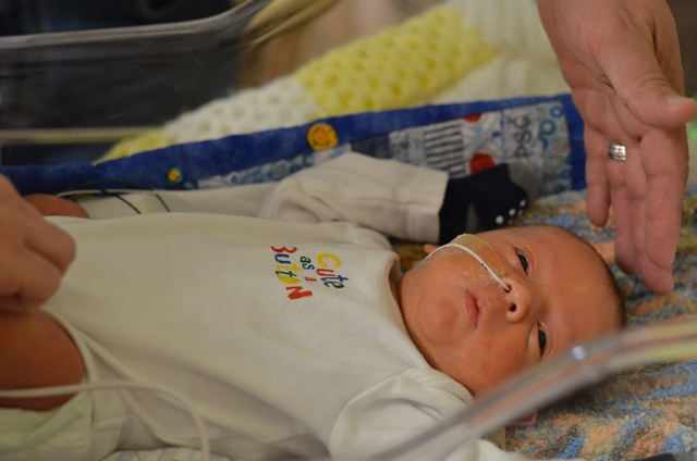 Baby Huxley was born at 31 weeks gestation and 4.4 pounds. By 36 weeks he was seven pounds and getting closer to going home