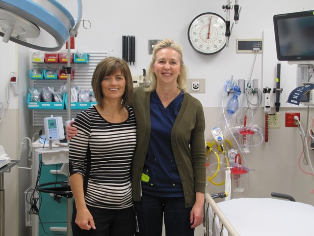 Monique Janes, Patient Care Director, and Pam Land, Emergency Department and ICU Manager, in the Northern Lights Regional Health Centre. It shows little sign that it had to be fully evacuated just months ago.