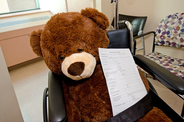 "This furry ""patient"" was safely moved from 5A to 5D with his patient identifiers, medical chart and wheelchair. Photo credit: SickKids"