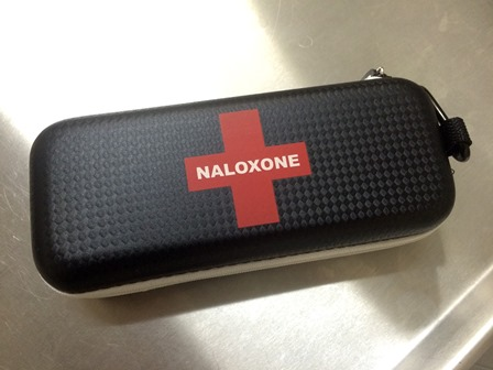 Naloxone is an opioid-blocking drug that has been used to quickly reverse heroin, morphine, OxyContin®, and other opioid overdoses. Naloxone kits are in use in Vancouver in response to the rash of overdose events from drugs laced with fentanyl. Photo credit: Tiffany Akins.