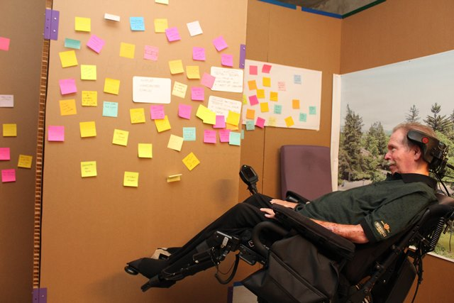 Patient Paul Feldman tours West Park Healthcare Centre's Design Lab and provides comments on how future patient rooms can accommodate different disabilities.