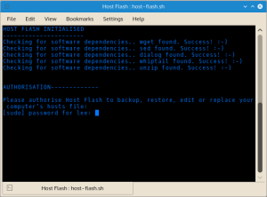 Authorize Host Flash to edit the hosts file. Host Flash performs all work in a temporary directory. Sudo permission is required only for installing the rebuilt hosts file.